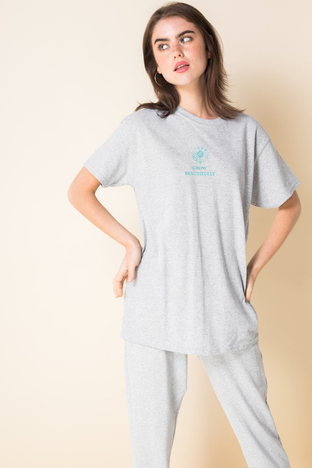 Daisy Street Relaxed T-Shirt With Grow Beautifully Print
