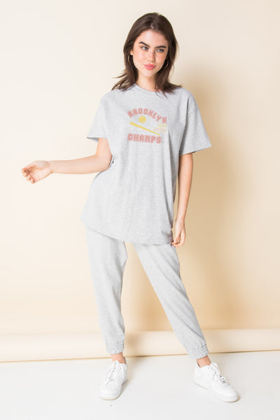Daisy Street Relaxed T-Shirt With Brooklyn Champs Print