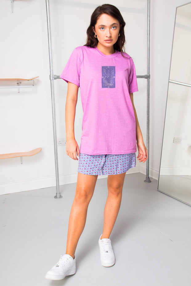 Daisy Street Relaxed T-Shirt with Eight Of Rings Print