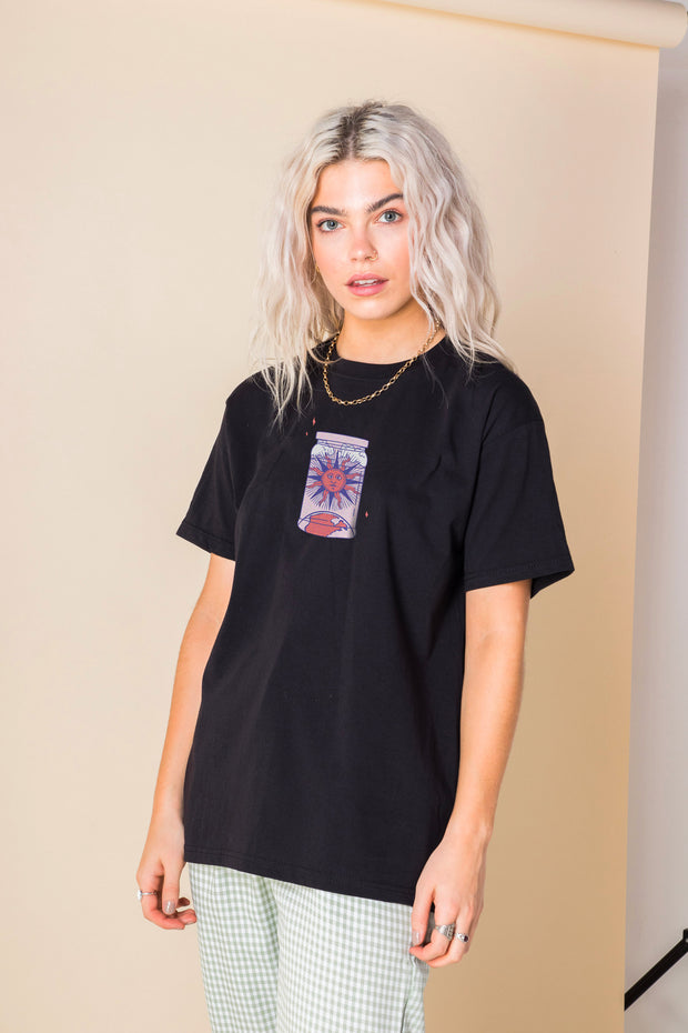 Daisy Street Relaxed T-Shirt with Celestial Jar Print