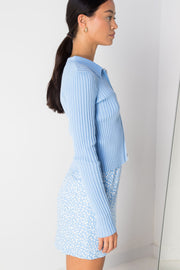 Daisy Street Cardigan with Double Zip in Blue
