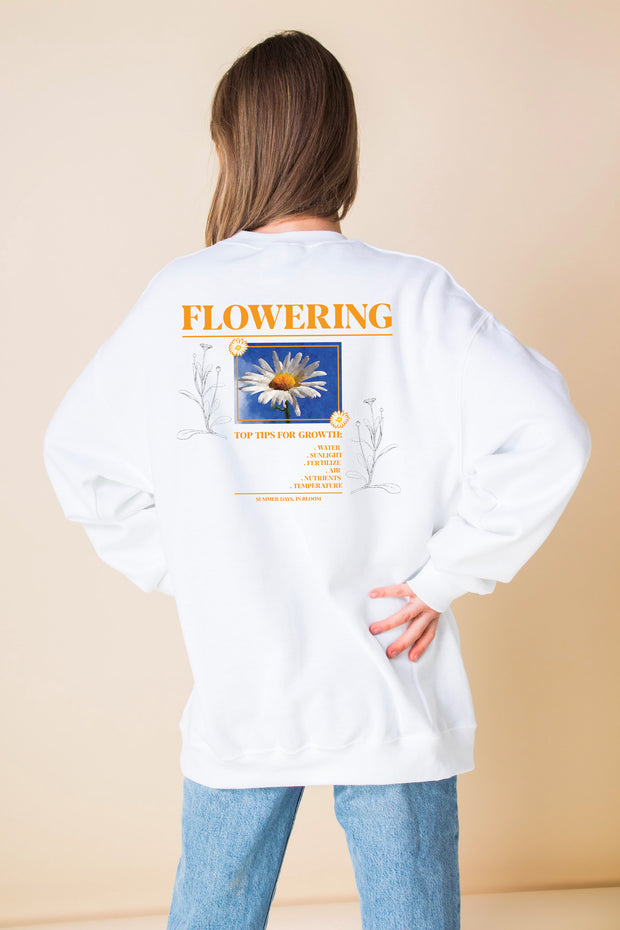 Daisy Street Oversized Sweatshirt with Flowering BACK Print