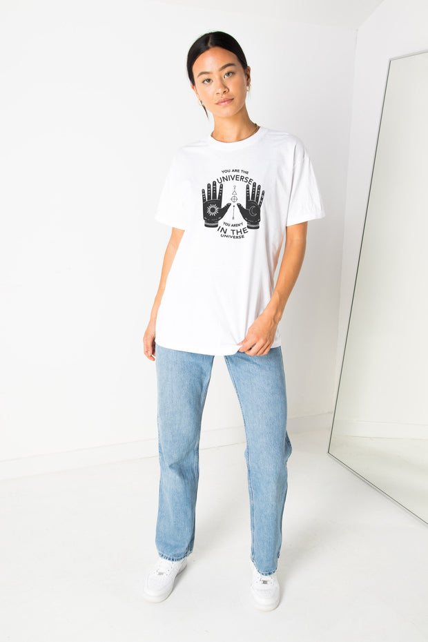 Daisy Street Relaxed T-Shirt with Universe Hands Print