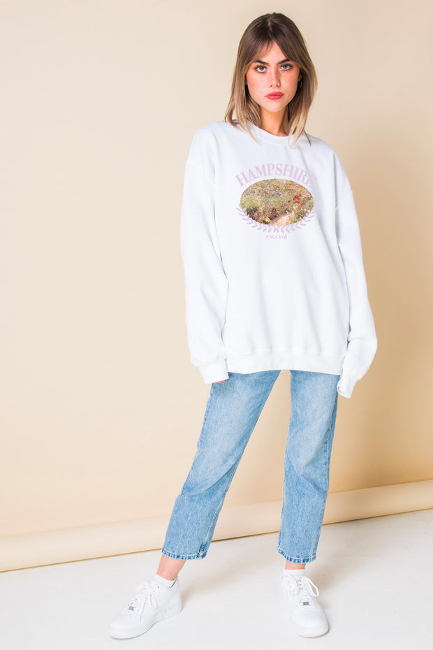 Daisy Street Oversized Sweatshirt with Wild Flower Hampshire Print