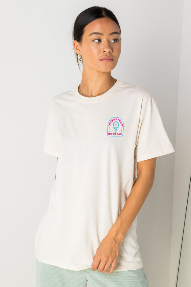 Daisy Street Relaxed T-Shirt with Daisy Street Ice Cream Front And Back Print
