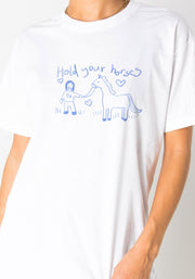 Daisy Street Relaxed T-Shirt with Hold Your Horses Print