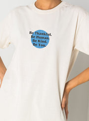 Daisy Street Relaxed T-Shirt with Be Humble Print