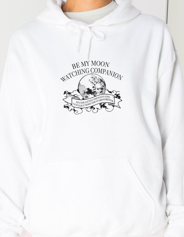 Daisy Street Oversized Hoodie with Moon Companion Print