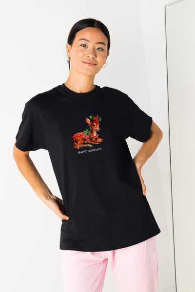 Daisy Street Relaxed T-Shirt with Happy Holidays Print