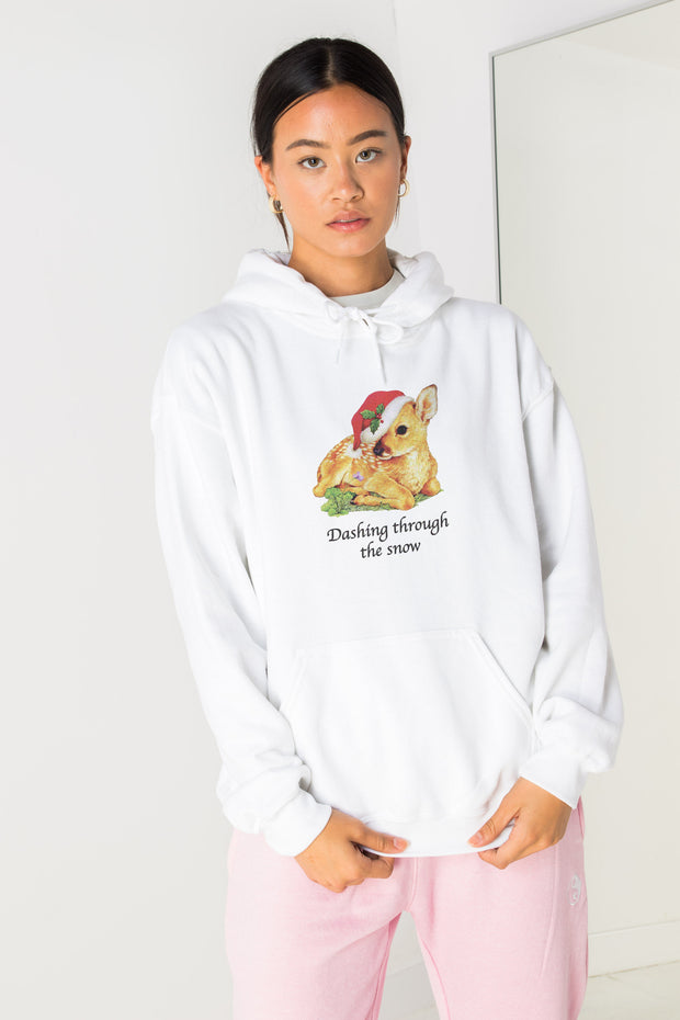 Daisy Street Oversized Hoodie with Dashing Through The Snow Print