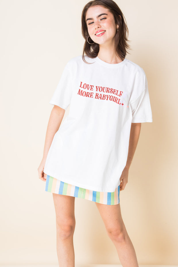 Daisy Street Relaxed T-Shirt with Love Yourself Baby Girl Print