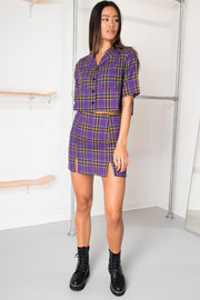 Daisy Street Mini Skirt in Purple and Yellow Check