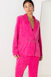 Daisy Street Relaxed Tailored Blazer in Pink Cord