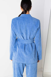 Daisy Street Relaxed Tailored Blazer in Fine Blue Cord Co-ord