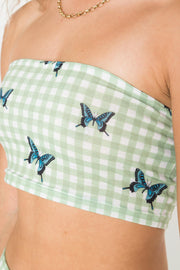 Daisy Street Bandeau Top in Butterfly Gingham Print