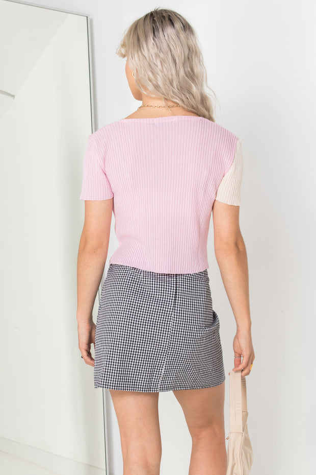 Daisy Street 90's Cropped Spliced Cardigan in Pink