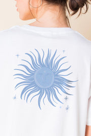 Daisy Street Relaxed T-Shirt with Blue Sun Back Print