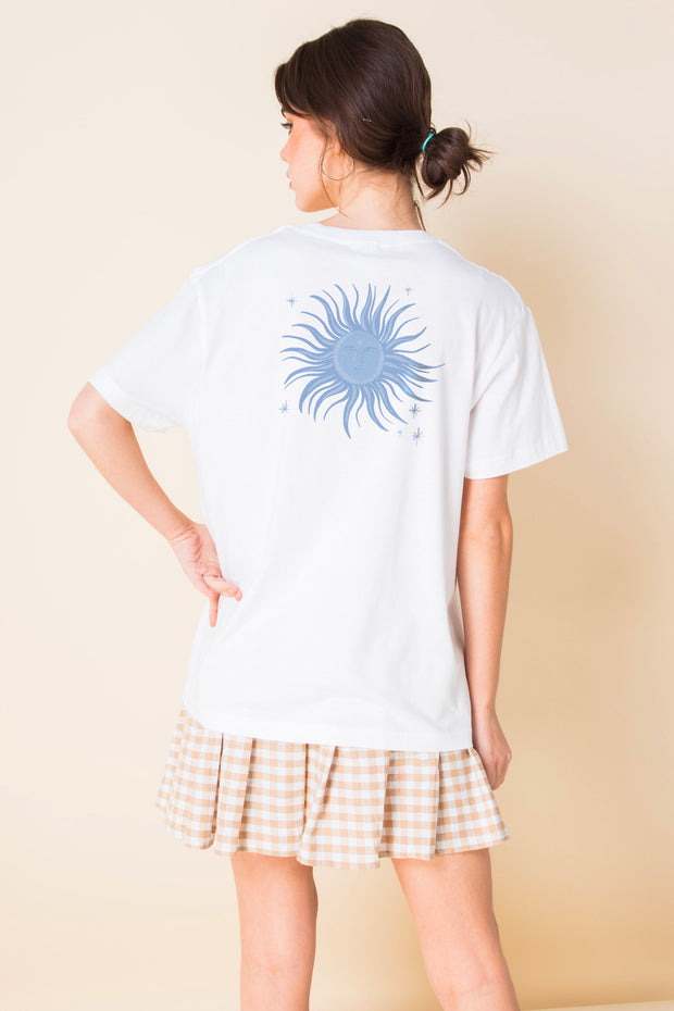 Daisy Street Relaxed T-Shirt With Blue Sun Print