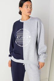 Daisy Street Oversized Spliced Sweatshirt with Atlanta Print