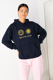 Daisy Street Oversize Hoodie with Sun Print