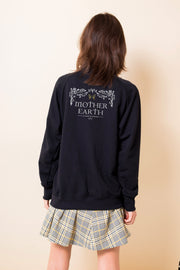 Daisy Street Oversized Sweatshirt with Mother Earth Back Print