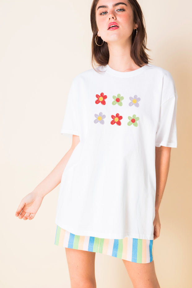 Daisy Street Relaxed T-Shirt with Crayon flowers Print