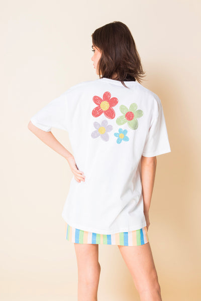 Daisy Street Relaxed T-Shirt with Crayon Flower Back Print