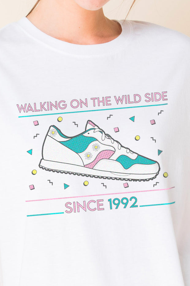 Daisy Street Relaxed T-Shirt with Sneaker Print