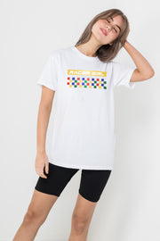 Daisy Street Relaxed T-Shirt with Racer Girl Print