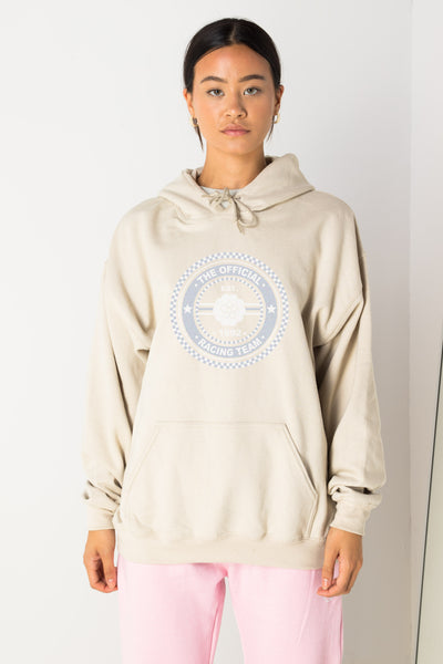 Daisy Street Oversize Hoodie with Racing Team Print