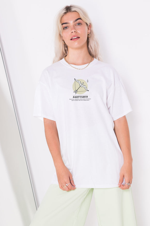Daisy Street Relaxed T-Shirt with Sagittarius Print