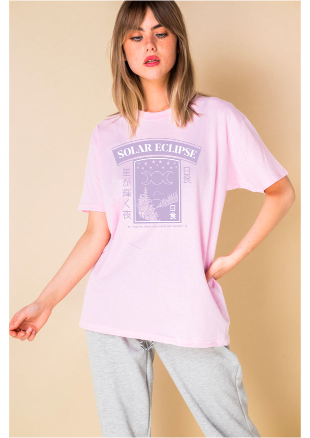 Daisy Street Relaxed T-Shirt with Solar Eclipse Print