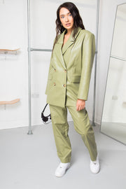 Daisy Street Relaxed Tailored PU Blazer in Green Co-ord