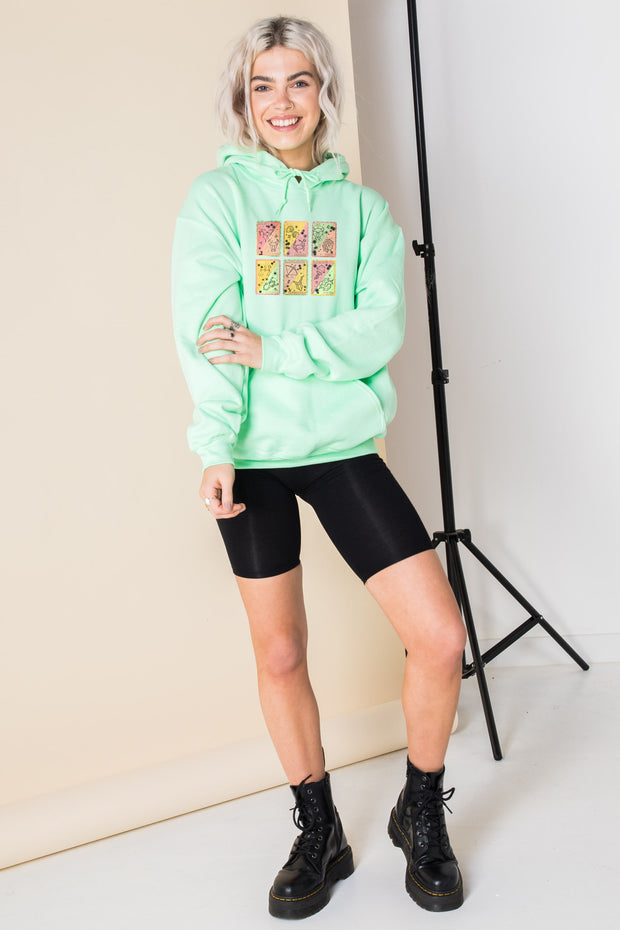 Daisy Street Oversized Hoodie with Pastel Tarot Print