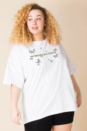 Daisy Street Curve Relaxed T-Shirt with Antisocial Butterfly print