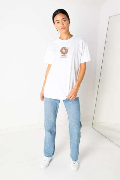 Daisy Street Relaxed T-Shirt with Capricorn Print