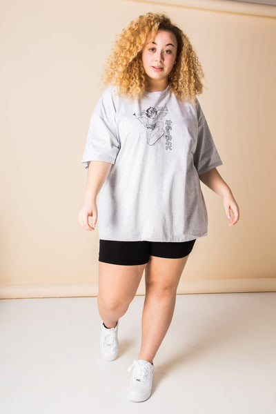Daisy Street Curve Oversized T-Shirt with Cherub on a Skateboard Print