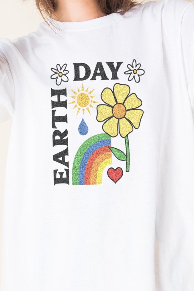 Daisy Street Relaxed T-Shirt with Earth Day Print