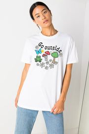 Daisy Street Relaxed T-Shirt with Go Outside Print