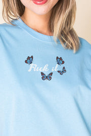 Daisy Street Relaxed T-Shirt with F*ck it Butterfly Print