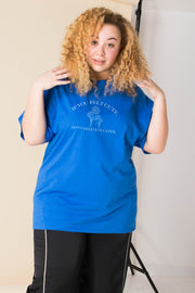 Daisy Street Curve Relaxed T-Shirt with Felt Cute Print