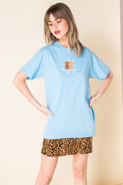 Daisy Street X Mocean Oversized T-Shirt with Self Care Bear Blue Print