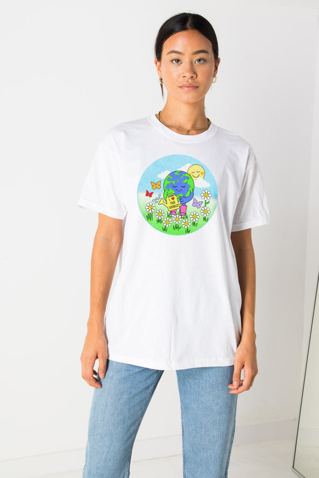 Daisy Street Relaxed T-Shirt with Love The World Print