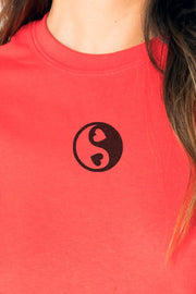 Daisy Street Relaxed T-Shirt with Heart Yin Yang Print