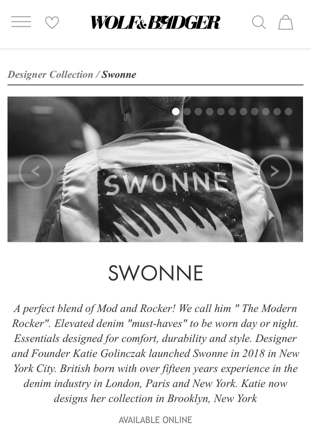 Swonne Is Fully Stocked At Wolf And Badger