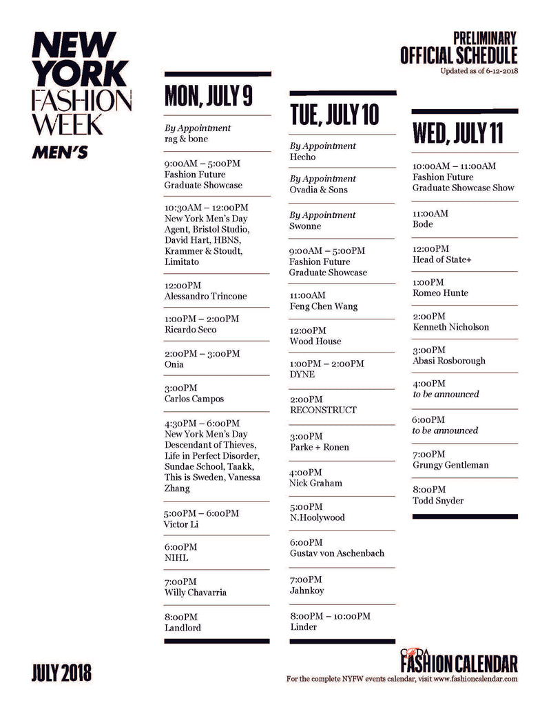 CFDA Fashion Calendar Releases the Official NYFW: Men's Schedule