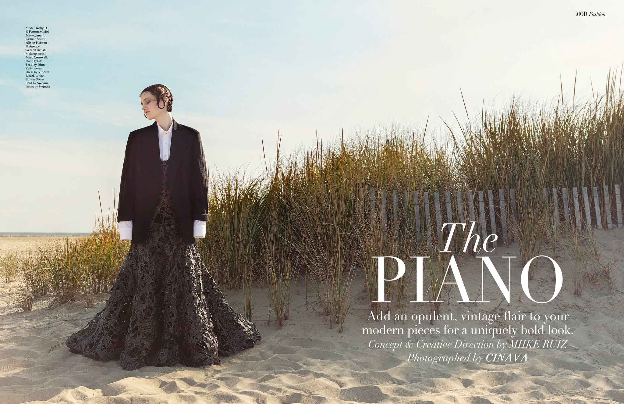 Model on beach wearing swonne tux and shirt