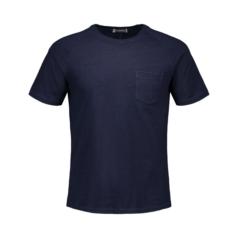 Pure indigo short sleeve t-shirt. soft, 100% cotton, metallic logo, one pocket, slim fit