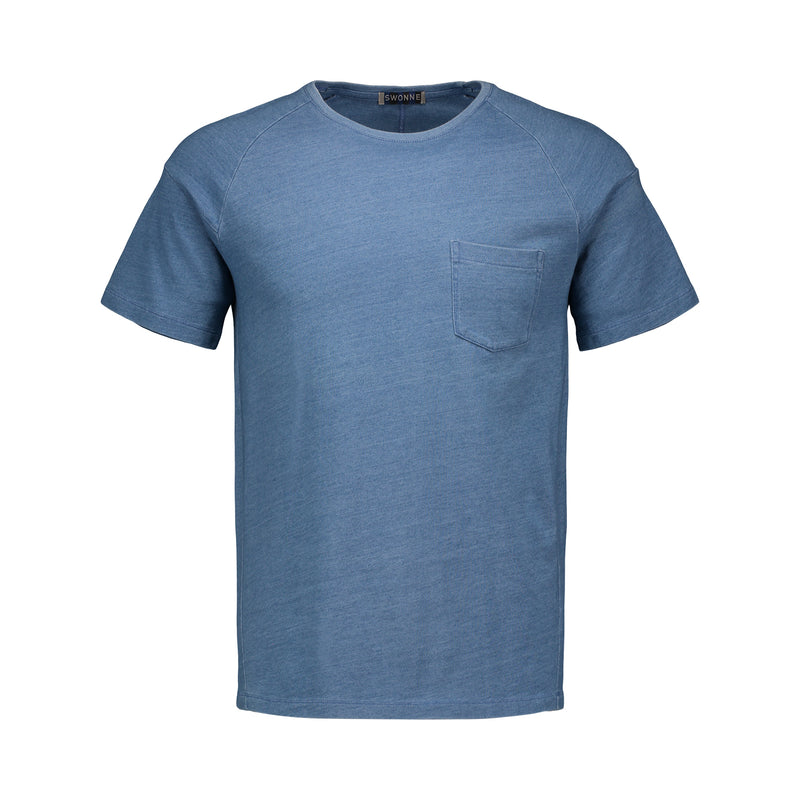 light indigo short sleeve t-shirt, soft, 100% cotton, one pocket, metallic logo, raglan sleeve