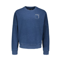 Indigo sweatshirt, 100% cotton, soft, long sleeve, metallic embroidery